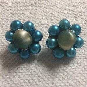 Teal vintage Beaded Clip Earrings